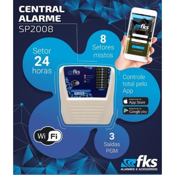 Central de alarme FKS por aplicativo 8 setores AP-2008 WI-FI