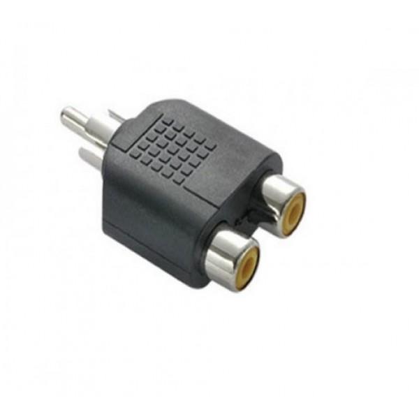 Adaptador plug RCA macho p/ 2 RCA femea